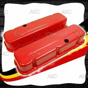 Orange Steel Tall Valve Covers For 1965-1995 Chevy Big Block 396 427 454 502
