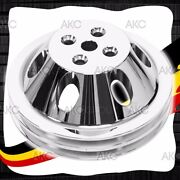2 Groove Chrome Finish Aluminum Water Pump Pulley For Chevy Sb Short Water Pump