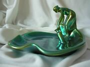 Antique Art Nouveau Zsolnay Dish Tray Scale Lady Water Jug Eosin Green Porcelain