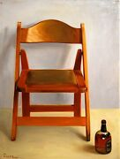 Oil On Canvas Original Signed Painting By Daniel Sergio Wooden Chair