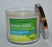 Bath And Body Works Stress Relief Eucalyptus Spearmint Candle 3 Wick 14.5 Oz Large
