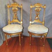 Pair Of Gilt Wood Designer Side Accent Chairs Antique Reproduction Gold Chair