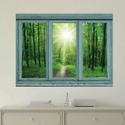 Window Looking Out Into A Green Forest And The Sun - Wall Mural - 36x48 Inches