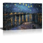 Starry Night Over The Rhone By Vincent Van Gogh - Canvas Wall Art- 24 X 36