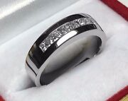 1.00ct Menand039s Lucky 7 Princess Diamond Engagement Ring 14k Solid White Gold Pd98b