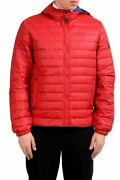 Versace Jeans Menand039s Red Duck Down Lightly Insulated Hooded Parka Size Xs M
