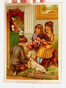 1870s-1880s Victorian Trade Card Children Dog Toys Punch And Judy Parlor Doll C