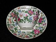 Antique Crown Staffordshire Bone China Tea Cup And Saucer Floral Chintz Ca. 1913