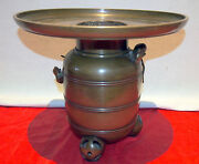 Asian Bronze Censer 19 Century And 2 Mice 2 Pieces Height=10.25 Signed By Artist
