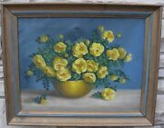 Edna Stubbs Cathell Oil Painting Floral Yellow Roses