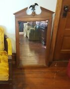 Vintage Big 3 Foot Tell City Chair Co. Wall Mirror W Eagle Finial Andover Finish