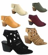 Womenand039s Cute Fashion Peep Toe Low Chunky Heel Sandals Shoes Size 5.5 - 11 New