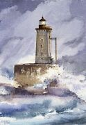 St. George Reef Lighthouse, Ca. Storm At The Dragon Gerald Hill Art Notecards
