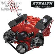 Black Small Block Chevy Serpentine Conversion Kit - Power Steering Electric Wp