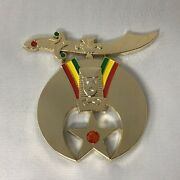 Shriners Cut-out Car Emblem In Gold Tone With Jewels