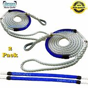 2 Of 3 Strand Mooring Pendant Nylon Rope Lines 1/2x10and039+ Chafe Guard + Thimble
