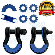 1 Pair 3/4 Black 4.75 Ton D-ring Shackle+blue Isolator Washers Silencer Clevis