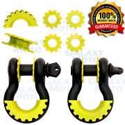1 Pair 3/4 Black 4.75 Ton D-ring Shackle+yellow Isolator Washer Silencer Clevis
