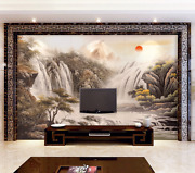 3d Red Sun Waterfall Painted Paper Wall Print Wall Decal Wall Deco Indoor Murals