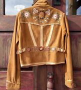 Collection Iconic Leather Jacket With Embroidered Flowers Size 8