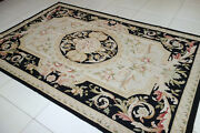 Beautiful Hand Woven Black Beige Fine Cottage Decor French Aubusson Rug19-79-95