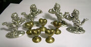 Metzke 1994 Miniature Angel Cupid Pewter And Gold Pewter Hearts Lot