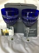 Nib Set Of 2 Waterford- Serenity Clarendon Sapphire Pattern Water Goblets 8-3/4