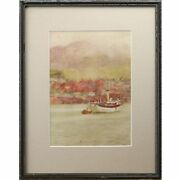 Original Signed Framed Antique Steam Boat Watercolour Painting Strahan Buchanan