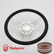 14and039and039 Billet Steering Wheels Black Half Wrap Replacement Grand Am Lemans Satin