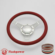 14and039and039 Billet Steering Wheels Red Half Wrap Banjo Ford Fairlane Galaxie Ltd Satin