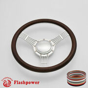 14and039and039 Billet Steering Wheels Wood Banjo Ford Gm Corvair Impala Chevy Ii Satin