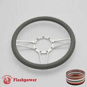 14and039and039 Billet Steering Wheels Light Gray Half Wrap Ford Fairlane Galaxie Ltd Satin
