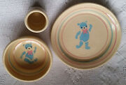 Child's Baby Bowl Set Studio Art Pottery Plate Cup Bears Hand Crafted Signed 80s