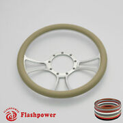 14and039and039 Billet Steering Wheels Tan Street Rod Ford Gm Corvair Impala Chevy Ii