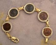 Ancient Roman Five Coin Bracelet Constantine I And Sons In 14kt Solid Gold And S/s