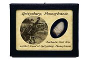 Shot Bullet Relic From The Battle Of Gettysburg With Display Case And Coa