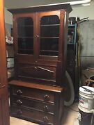 Late 1800and039s Walnut And Burl Bookcase/ Secretary Approximately 84