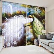 3d Peacock Blockout Photo Curtain Printing Curtains Drapes Fabric Window Us