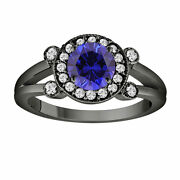 Blue Sapphire Engagement Ring 14k Black Gold 1.12 Carat With Side Diamonds
