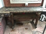1800's Carpenters Bench Vise Screw 2 Pc Architectural Salvage Bar Table
