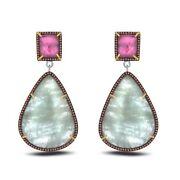 60.44 Ct Slice Sapphire And Red Diamond 18k Gold And Sterling Drop Earrings