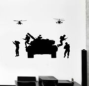 Vinyl Wall Decal Tank Soldiers Helicopters Military War Stickers Ig4837