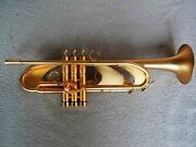 Professional Heavy Satin Gold Trumpet Germany Brass 4-7/8 Monel Valve With Case