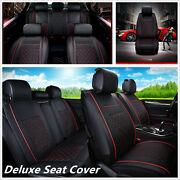 Deluxe Edition Auto Car Seat Cover Cushion 5seats Front+rear Pu Leather W/pillow