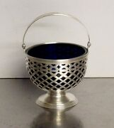 And Co Sterling Silver Footed Basket Style Candy Dish With Cobalt Insert