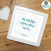 The Beatles In My Life Song Words Lyrics Print Personalised Valentines Day Gift