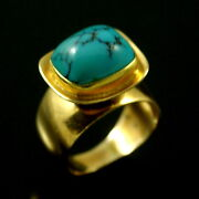 Bent Knudsen - Denmark. 14k Gold Ring With Turquoise - 1960s