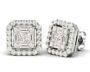 1.50 Ct Round Brilliant Princess And Baguette Cut Diamonds Studs Available In 18k