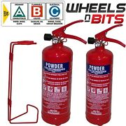 2x Abc Dry Powder 2 Kg Fire Extinguisher And Steel Wall Bracket Home Ofiice Car