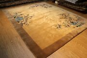 Art Deco Vintage Chinese 9and039x11and039 Garden Design Pictorial Light Brown Khaki Pm75